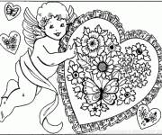 Coloring pages Love Angel Carrying A Heart