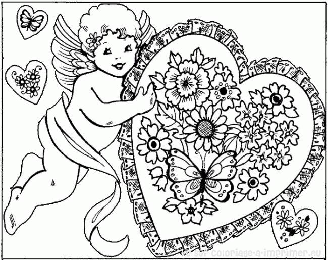 Free coloring and drawings Love Angel Carrying A Heart Coloring page