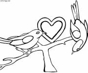 Free coloring and drawings Love Heart and Birds Coloring page