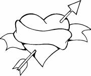 Coloring pages Love Heart and Colored Arrow