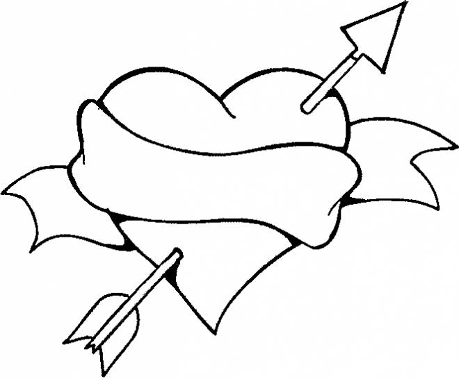 Free coloring and drawings Love Heart and Colored Arrow Coloring page