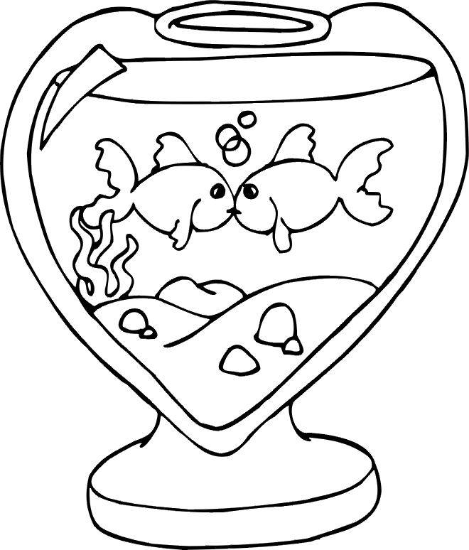 Free coloring and drawings Loving Fish Coloring page