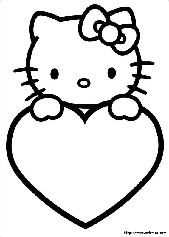 Free coloring and drawings St-Valentin Hello Kitty Coloring page