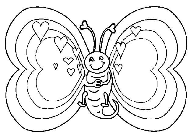 Free coloring and drawings The Butterfly seems in love Coloring page
