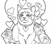 Coloring pages The Cat on Valentine's Day card