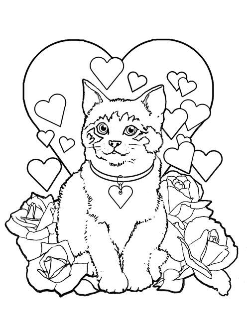 Free coloring and drawings The Cat on Valentine's Day card Coloring page