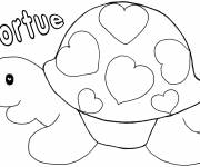 Free coloring and drawings Turtle decorated with Hearts Coloring page