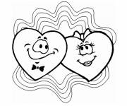 Coloring pages Two Smiling Love Hearts