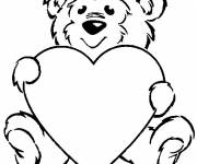 Coloring pages Valentine Bear and Love