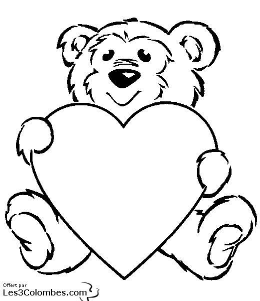 Free coloring and drawings Valentine Bear and Love Coloring page