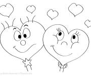 Coloring pages Valentine hearts in love