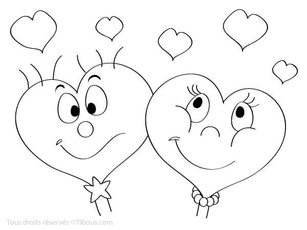 Free coloring and drawings Valentine hearts in love Coloring page