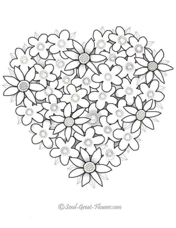 Free coloring and drawings Valentine Roses Coloring page