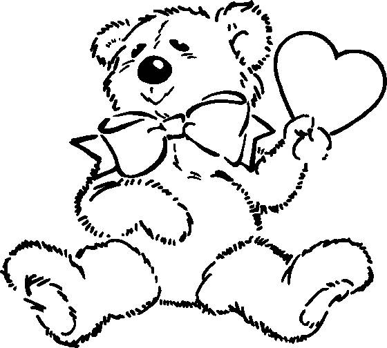 Free coloring and drawings Valentine's Day Bear online Coloring page