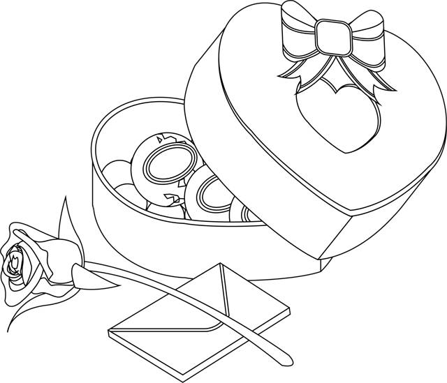 Free coloring and drawings Valentine's Day Gifts and Letters Coloring page