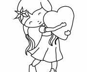 Coloring pages Valentine's Day Girl
