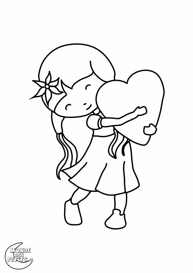 Free coloring and drawings Valentine's Day Girl Coloring page