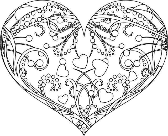 Free coloring and drawings Valentine's Day Gorgeous Heart Coloring page