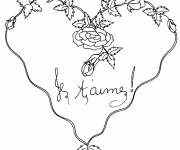 Coloring pages Valentine's Day Heart in Bloom