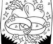Coloring pages Valentine's Day Hearts and Rings
