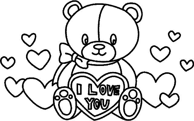 Free coloring and drawings Valentine's Day Plush Gift Coloring page