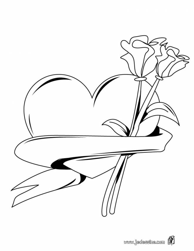 Free coloring and drawings Valentine's Day rose Coloring page