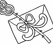 Coloring pages Valentine's letter and flower