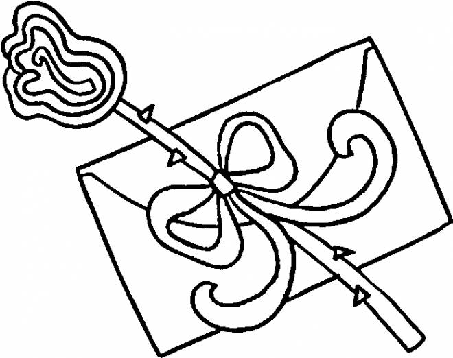 Free coloring and drawings Valentine's letter and flower Coloring page