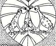 Coloring pages Valentine's love frogs