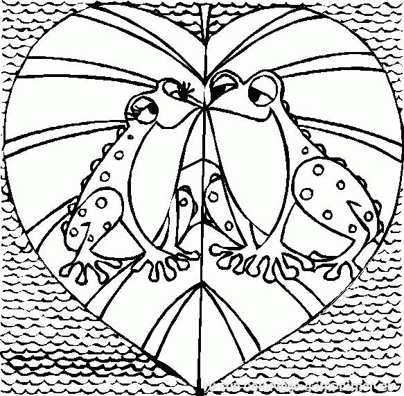 Free coloring and drawings Valentine's love frogs Coloring page