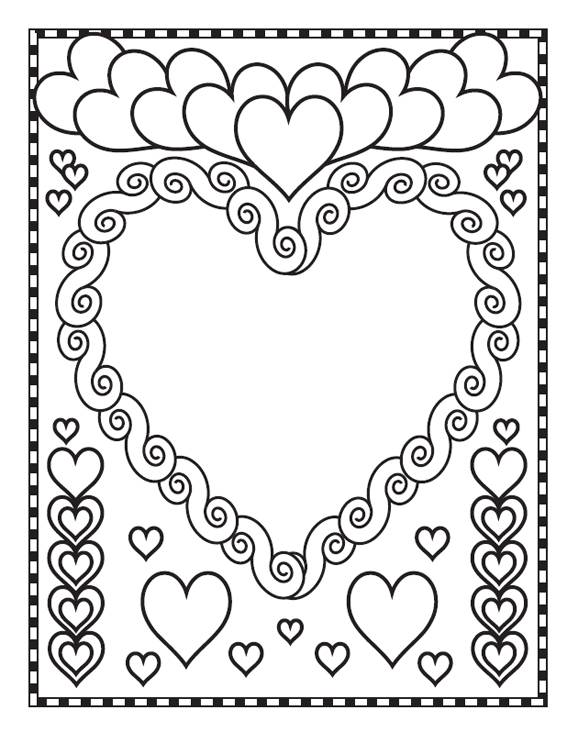Free coloring and drawings Valentine's love heart Coloring page