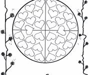 Coloring pages Valentine's mandala for children