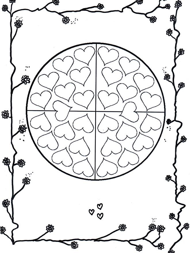 Free coloring and drawings Valentine's mandala for children Coloring page