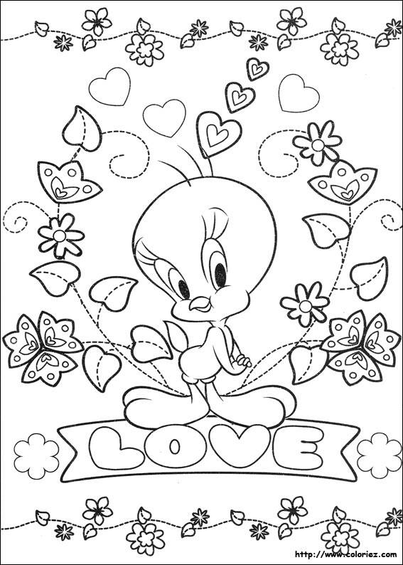 Free coloring and drawings Valentine Tweety Love Coloring page
