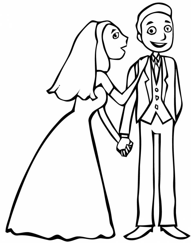 Free coloring and drawings A couple at their wedding Coloring page