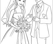 Free coloring and drawings Barbie wedding Coloring page
