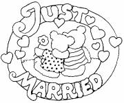 Free coloring and drawings Logo Just married Coloring page