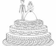 Free coloring and drawings Wedding cake to decorate Coloring page