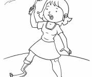 Coloring pages A little girl plays badminton