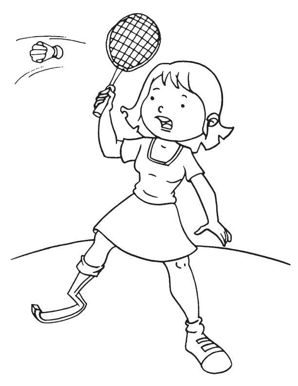 Free coloring and drawings A little girl plays badminton Coloring page