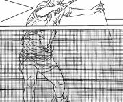 Coloring pages Badminton and net player