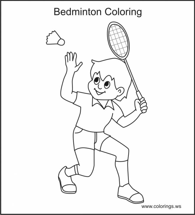 Free coloring and drawings Badminton coloring Coloring page