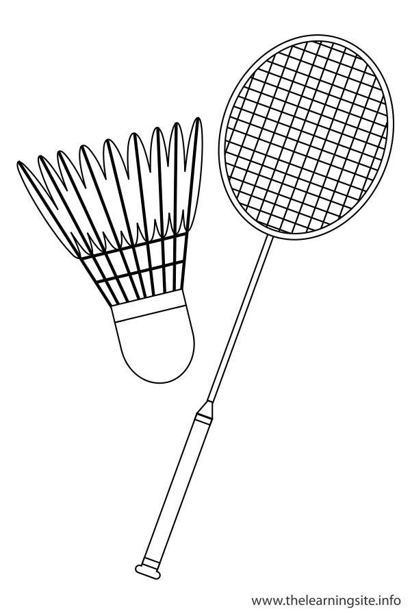 Free coloring and drawings Badminton equipment Coloring page