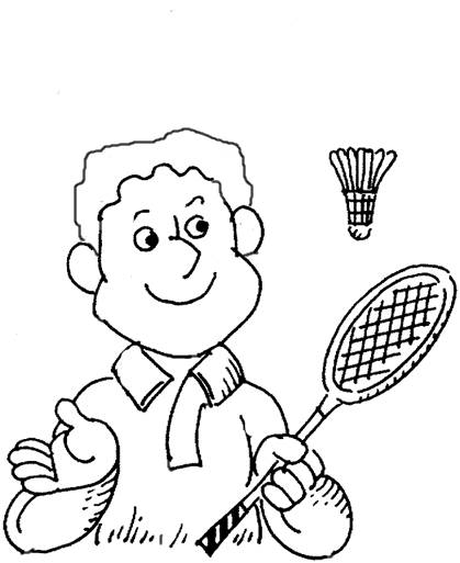 Free coloring and drawings Badminton for children Coloring page