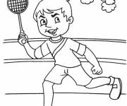 Coloring pages Badminton player during the match