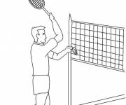 Free coloring and drawings Badminton player in match Coloring page
