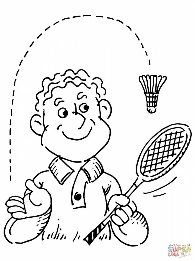 Free coloring and drawings Badminton racket and shuttlecock Coloring page