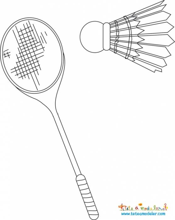 Free coloring and drawings Badminton Racket Sport Coloring page