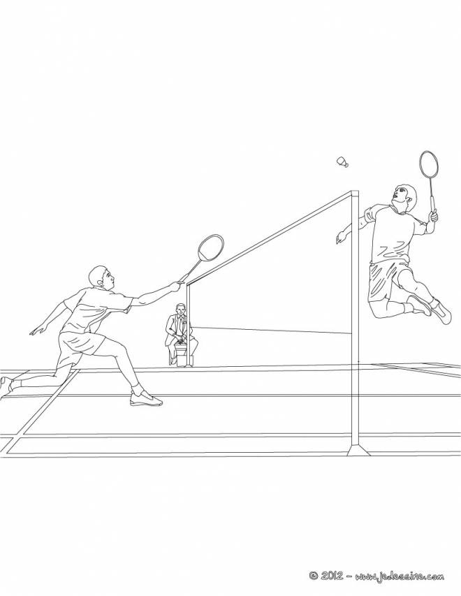 Free coloring and drawings Badminton sport in black and white Coloring page