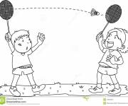 Coloring pages Children play badminton
